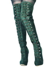 Green Women's Over Knee Boots - Shoes