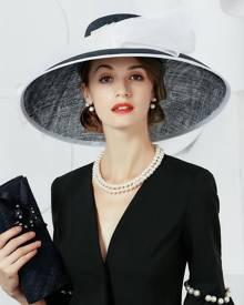 milanoo.com Vintage Floppy Hat Women Linen Deep Blue Winter Hat Retro Costume Accessories