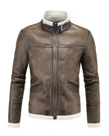 milanoo.com Brown Moto Jacket Men's PU Stand Collar Piping Zippers Buckles Decor Casual Coat