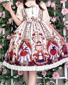 milanoo.com Milanoo Sweet Lolita JSK Dress Sugar Plum Fairy Printed Bow Lolita Jumper Skirts