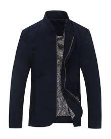milanoo.com Overcoat Navy Men Stand Collar Long Sleeve Cotton Jacket Zipper Moto Jacket