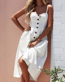 milanoo.com Long Summer Dress With Pockets Straps Buttons Solid Color Slip Dress