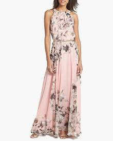 milanoo.com Maxi Dress Floral Print Women Chiffon Sleeveless Peach Long Summer Dress