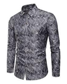 milanoo.com Burgundy Men Shirt Print Turndown Collar Long Sleeve Cotton Men Spring Top