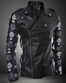 milanoo.com Black Leather Jacket Floral Print 2020 Surplice Zipper Designed Collar Moto Jacket For Men