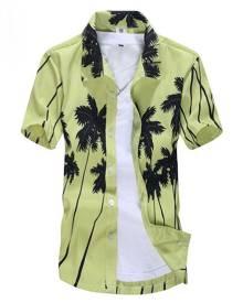 milanoo.com White Beach Shirt Plus Size Short Sleeve Casual Shirt Palm Tree Tropical Print Summer Shirt For Men