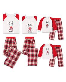 milanoo.com Matching Family Christmas Pajamas Father Red Plaid Printed Top And Pants 2 Piece Set For Men