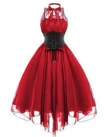 milanoo.com Milanoo Gothic Lolita JSK Dress Lace Chiffon Ruffles Lolita Jumper Skirts