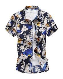 milanoo.com Men Beach Shirt Cotton Floral Print Plus Size Navy Blue Short Sleeve Shirt