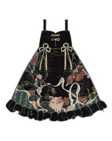 milanoo.com Classical Lolita JSK Dress Dunhuang Cat Wall Painting Print Lolita Jumper Skirts