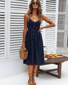 milanoo.com Long Summer Dress With Pockets Straps Buttons Deep Blue Slip Dress