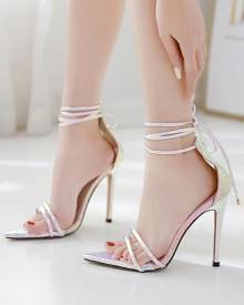 milanoo.com High Heel Sandals Womens Iridescent Lace Up Open Toe Stiletto Heel Sandals