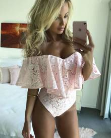 milanoo.com Pink Lace Bodysuit Off The Shoulder Ruffles Half Sleeve Women's Sexy Bodysuit