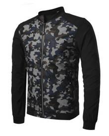 milanoo.com Men Bomber Jacket Camo Print Spring Jacket Stand Collar Zipper Casual Outwear