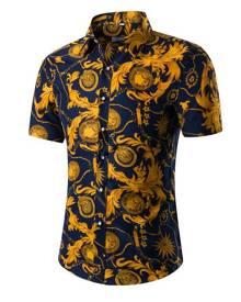 milanoo.com Floral Print Shirt Plus Size Multicolor Short Sleeves Cotton Shirt for Men