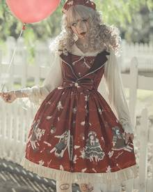 milanoo.com Milanoo Gothic Lolita JSK Dress Infanta Skeleton Bows Burgundy Lolita Jumper Skirts