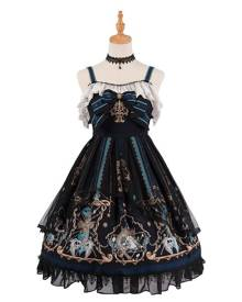 milanoo.com Gothic Lolita JSK Dress God Redemption Print Lace Ruffle Black Lolita Jumper Skirts Original Design