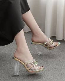 milanoo.com Luxury Adorned Transparente Slippers Iridescent Peep Toe Clear Chunky Heel Slides