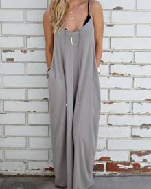 milanoo.com Oversized Maxi Dress Sleeveless Cotton Blend Slip Dress With Pockets