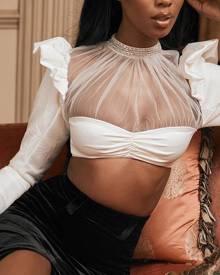 milanoo.com Women Crop Top White Long Sleeves Sheer Frills Sexy Tops