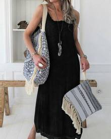 milanoo.com Oversized Maxi Dress Lace Trim Sleeveless Slip Dress