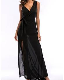 milanoo.com Black Maxi Dress Chiffon Sleeveless V Neck Long Slip Dress