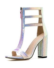 milanoo.com High Heel Sandals Womens T-strap Zippered Iridescent Snakeskin Open Toe Chunky Heel Sandals