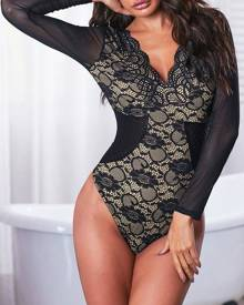 milanoo.com Long Sleeves Bodysuit Black V Neck Sexy Sheer Lace Top For Women