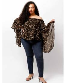 LuvMeMore Leopard Print Brittney Off The Shoulder Bell Sleeve Top Size 16W/18W