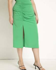 ELOQUII Ruched Tunnel Skirt in Fern Green Size 14