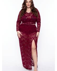 Curvy Sense Lindsay Sequin Lace Matching Set Top in Burgundy Size 1X