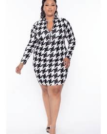 Curvy Sense Houndstooth Print Bodycon Dress in Black/White Size 1X