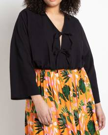ELOQUII Tie Front Blouse Top in Black Size 14/16