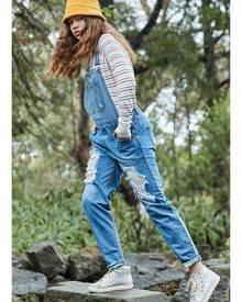 Pavement Denim/Zom-B Hayley Girlfriend Distressed Denim Overalls - Washed Vintage Blue