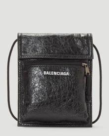 Balenciaga Explorer Pouch Leather Crossbody Bag in Black