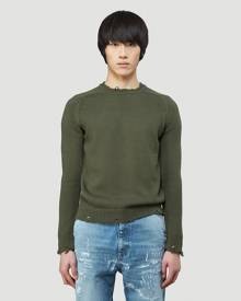 Saint Laurent Distressed Crewneck Sweater in Green