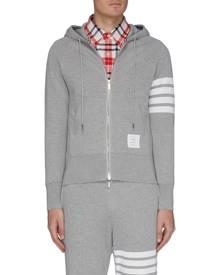 THOM BROWNE Stripe sleeve zip hoodie