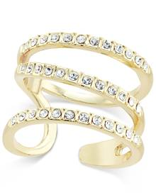 Inc International Concepts Gold-Tone Triple Band Pave Statement Ring, Only at Macy's