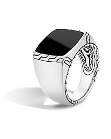 John Hardy Batu Classic Chain Sterling Silver Signet Ring with Black Jade