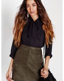 Missguided Khaki Faux Suede Mini Skirt