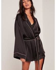 Missguided Kimono Piping Detail Silk Robe