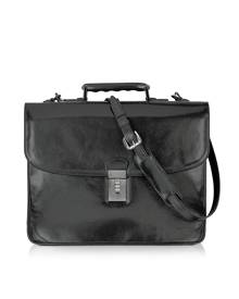 L.A.P.A. Designer Briefcases, Classic Black Leather Briefcase