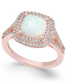 Macy's Lab-Created Opal (1-3/8 ct. t.w.) and White Sapphire (1/2 ct. t.w.) Ring in 14k Rose Gold-Plated Sterling Silver