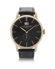Locman Designer Men's Watches, 1960 Rose Gold PVD Stainless Steel Men's Watch w/Black Croco Embossed Leather Strap