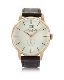 Locman Designer Men's Watches, 1960 Rose Gold Stainless Steel Men's Watch w/Dark Brown Croco Embossed Leather Strap