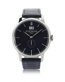 Locman Designer Men's Watches, 1960 Silver Stainless Steel Men's Watch w/Dark Blue Croco Embossed Leather Strap