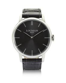 Locman Designer Men's Watches, 1960 Stainlees Steel Men's Watch w/Black Croco Embossed Leather Strap