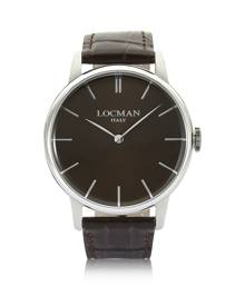 Locman Designer Men's Watches, 1960 Stainless Steel Men's Watch w/ Dark Brown Croco Embossed Leather Strap
