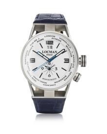Locman Designer Men's Watches, Montecristo Blue Stainless Steel & Titanium Dual Time Men's Watch w/Leather Strap