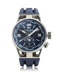 Locman Designer Men's Watches, Montecristo Blue Stainless Steela & Titanium Dual Time Men's Watch